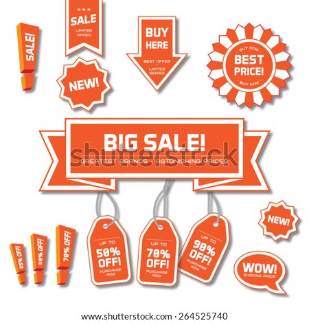 Sale stickers set - stock vector