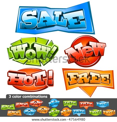 Sale stickers. Vector Illustration - stock vector