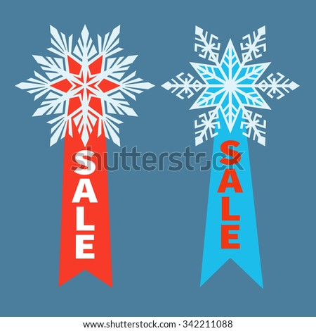 Sale Stickers with snowflakes and ribbons for text. Sale typography Labels, Emblems isolated on background. Winter Sale Advertisement. Modern flat style. Vector.