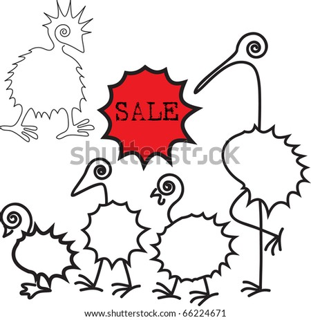 sale stikers with contour of birds - stock vector