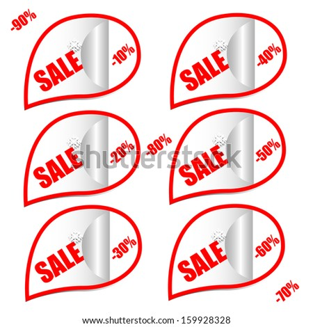 Sale stitch sticker price tag. Sale icons. Winter set of sales tags. Vector sale Christmas stickers with traditional decorations  - stock vector