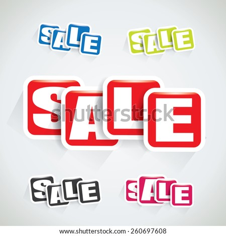 Sale tag set made of rectangular bubbles - stock vector
