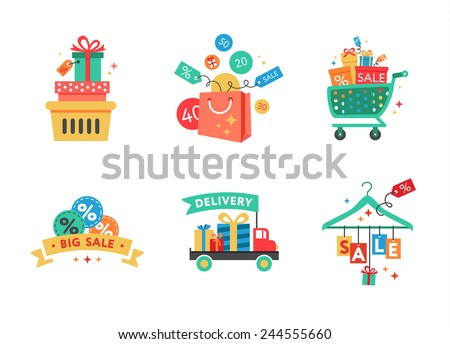 Sale Tags. Big sale, buy now, special offer, free delivery, best seller, quality, special price. Shopping icon - stock vector