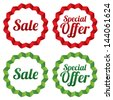 Sale tags collection (vector). Red stickers (special offer set). Icons for shops. - stock vector