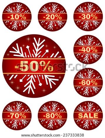 Sale tags for christmas or new year or winter sale out. Percentage discount. Isolated red set with snowflake on white background. - stock vector