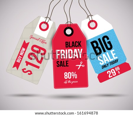 Sale Tags for special offers and black friday - stock vector