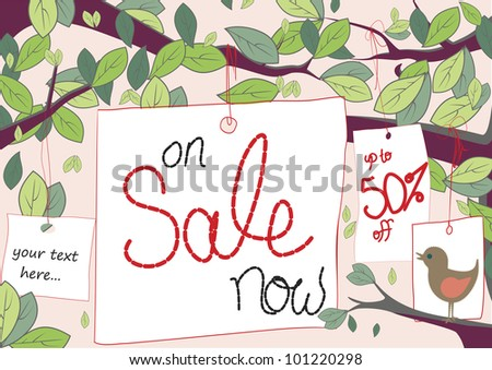 Sale tags hang from trees with space for text like 50% off