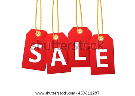 Sale tags isolated on white background. Vector illustration.