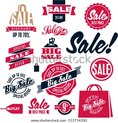 Sale tags. Sale banners set. Shopping. - stock vector