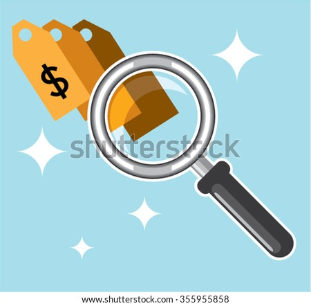 Sale Tags under magnifying glass vector - stock vector