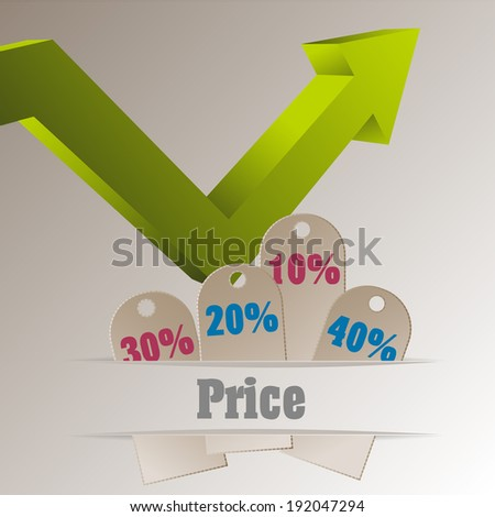 Sale tags with an arrow pointing upside - stock vector