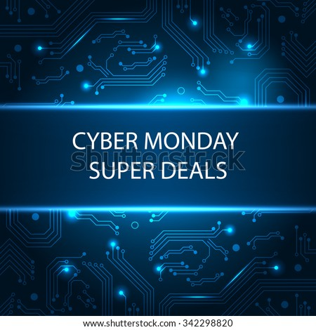 Sale technology banner for cyber monday - stock vector