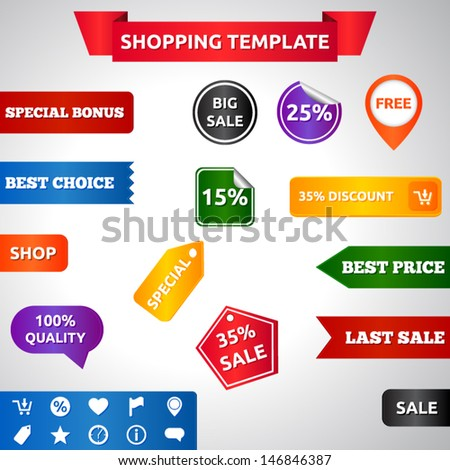 Sale template | vector design eps 10 | ribbons labels stickers icons banners | free last sale shop best choice big sale 100% quality special offer | red blue purple orange yellow green black |