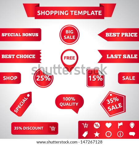 Sale template | vector design eps 10 | ribbons labels stickers icons banners | free last sale shop best choice big sale 100% quality special offer | red - stock vector