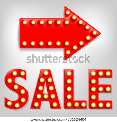 Sale Text With Arrow With Gradient Mesh, Vector Illustration - stock vector
