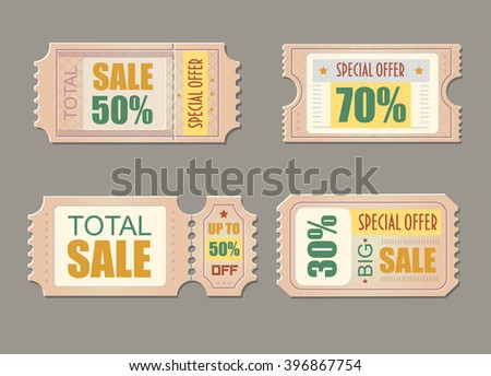 Sale tickets. Coupon price, promotion discount illustration Vector - stock vector