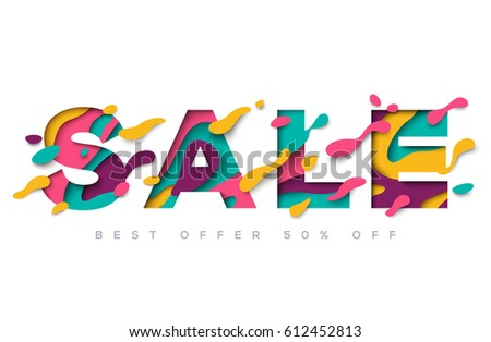Sale typography design with abstract flowing shapes isolated on white background. Vector illustration. Colorful trendy element for business event