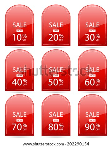 sale up to 10,20,30,40,50,60,70,80,90 percent on rounded square red label set (vector)