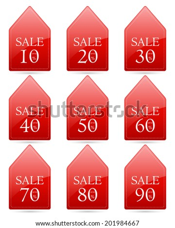 sale up to 10,20,30,40,50,60,70,80,90 percent on triangle tag red label set (vector)