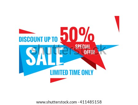Sale vector banner - discount up to 50%. Special offer abstract layout. Limited time only!  - stock vector