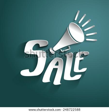 Sale Vector Poster, 3D Paper Graphics - stock vector