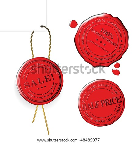 Sale wax stamp - vector set - stock vector