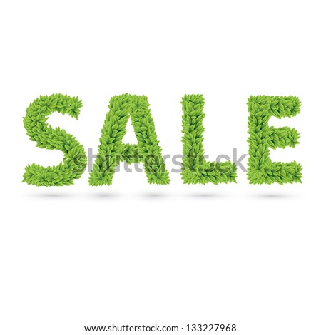 Sale word made of green vector leafs - stock vector
