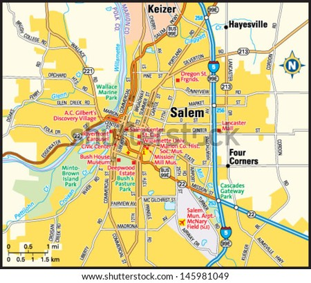 Salem Oregon Area Map Stock Vector 145981049   Shutterstock
