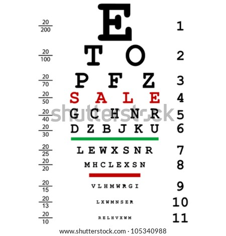 Sales advertising with optical eye test used by doctors