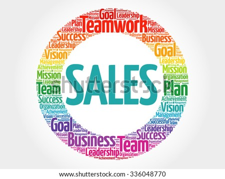 SALES circle stamp word cloud, business concept - stock vector