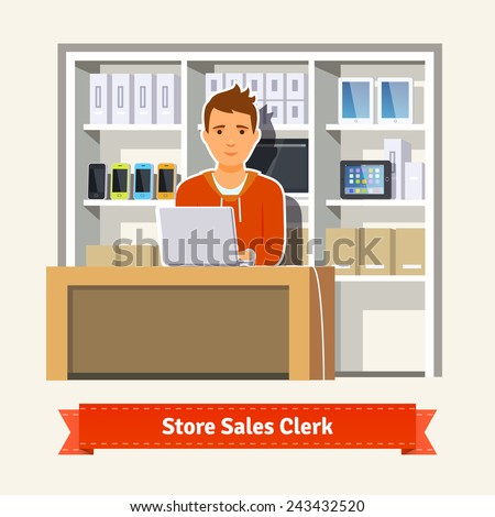 Sales clerk working with customers at the technology store or department. Young boy shop assistant. Flat style illustration.  - stock vector