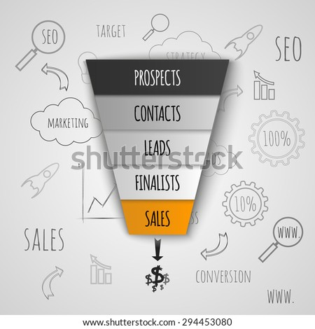 Sales funnel business infographic. Vector illustration. - stock vector