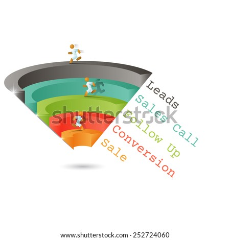 Sales funnel for infographics on a gray background 3D. Vector illustration. - stock vector