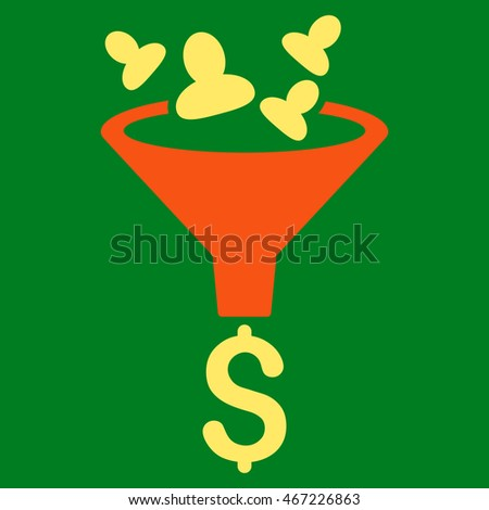 Sales Funnel icon. Vector style is bicolor flat iconic symbol with rounded angles, orange and yellow colors, green background.