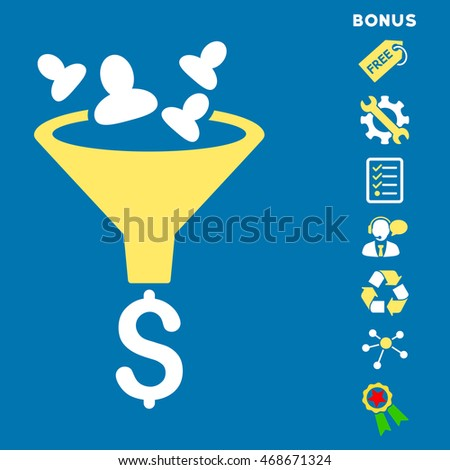 Sales Funnel icon with bonus pictograms. Vector illustration style is flat iconic bicolor symbols, yellow and white colors, blue background, rounded angles.
