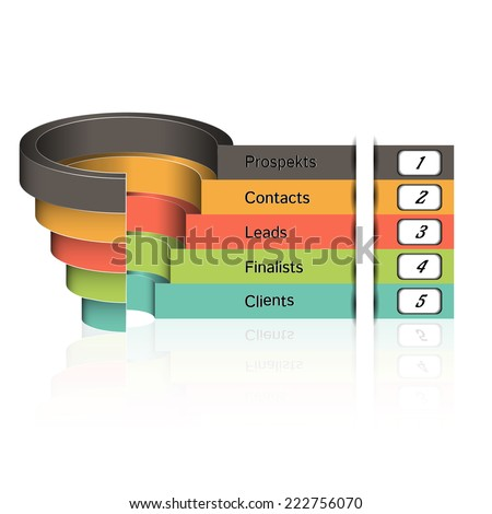 Sales funnel on a gray background 3D. Vector illustration. - stock vector