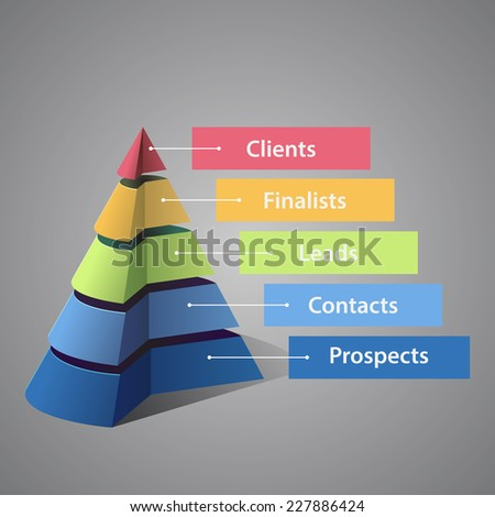 Sales funnel template - stock vector