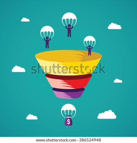 Sales funnel vector concept in flat style - stock vector