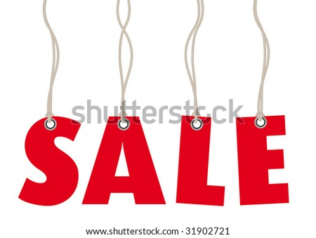 Sales labels in red made of text in vector - stock vector