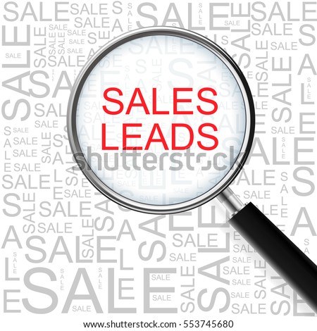 Sales Leads. Magnifying glass over seamless background with different association terms. Business Concept.