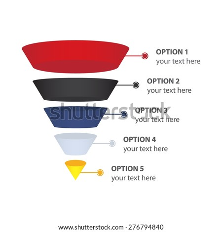 Sales or Conversion Funnel, isolated on white - Vector Infographic - stock vector
