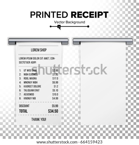 Sales Printed Receipt Vector Bill Atm Stock Photo Photo Vector