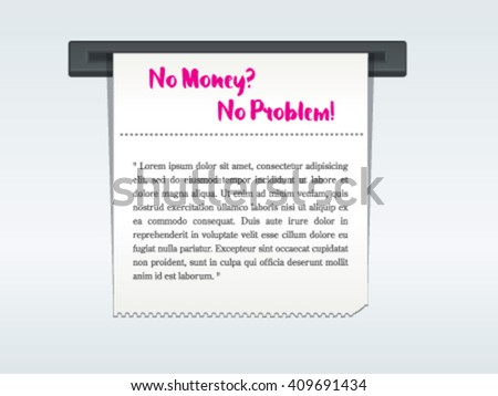 Sales receipt from Bill atm machine template - stock vector