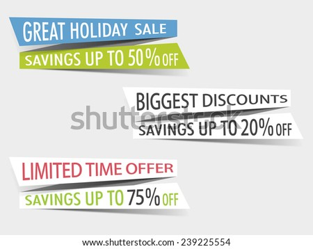 Sales sticker tag with discount percentage and other message on grey background. - stock vector