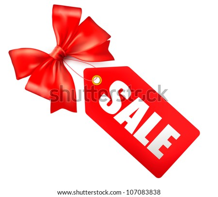 Sales tag with red gift bow. Vector illustration - stock vector