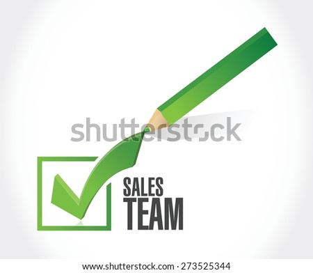 sales team check mark sign concept illustration design over white - stock vector