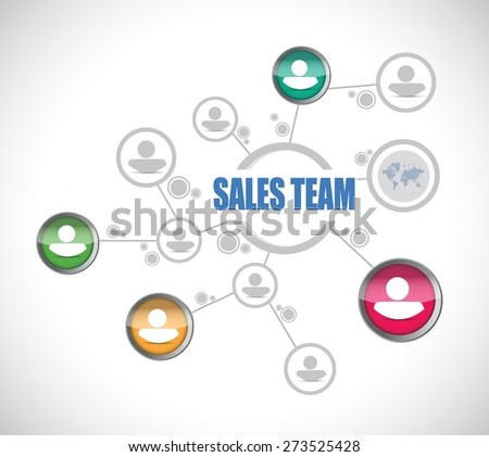 sales team people diagram sign concept illustration design over white - stock vector