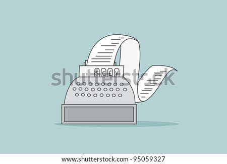 Sales Till with Receipt Roll - stock vector