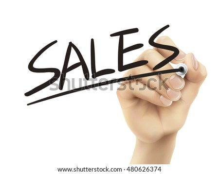 Sales written by hand, 3D illustration realistic hand writing on transparent board