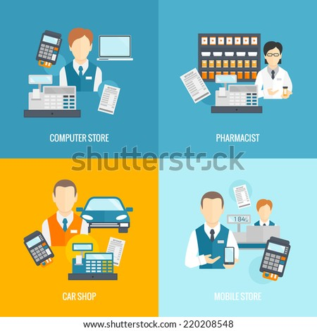 Salesman icons flat set isolated with computer mobile store pharmacist car shop vector illustration - stock vector
